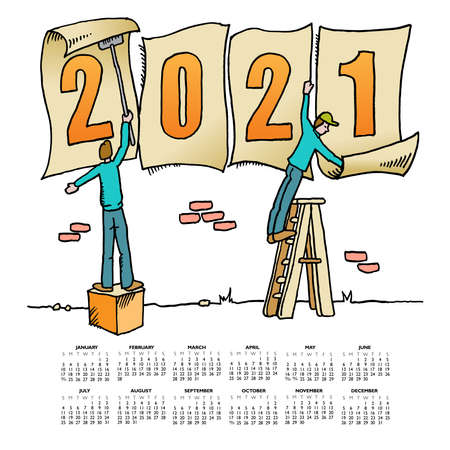 Whimsical drawing to bring in the 2021 new year  for web or print use Vettoriali