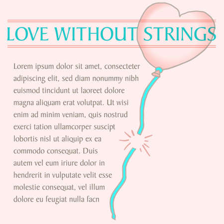 Love without strings is the theme of this hand drawn graphic.