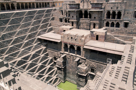 chand baori: Chand Baori, a stepwell situated in the village of Abhaneri in the Indian state of Rajasthan