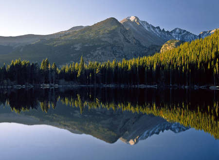 with reflection: Sunrise at Bear Lake in Rocky Mountain National Park.