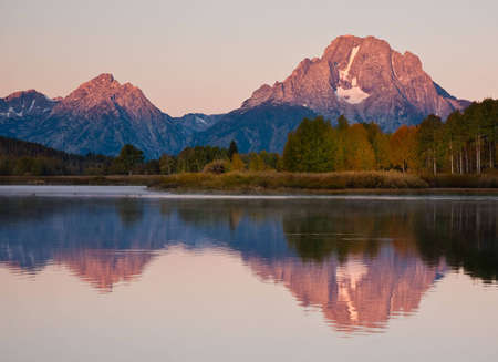 the majesty: Early morning reflection of Mt. Moran at Oxbow Bend in Grand Teton National Park.