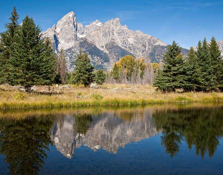 Beautiful morning at Grand Teton National Parks Schwabachers Landing. photo