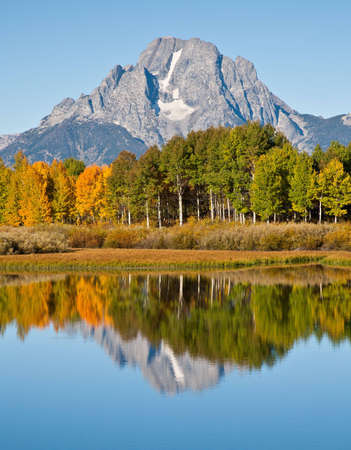 Morning reflection of Mt. Moran at Oxbow Bend in Grand Teton National Park.