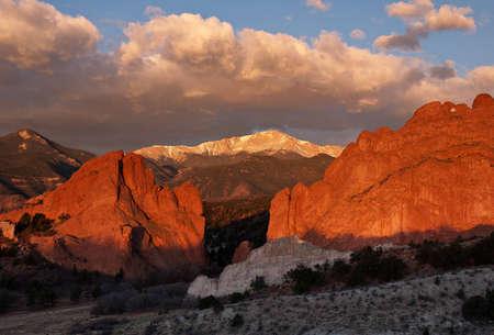 Sunrise on Pikes Peak from Garden of the Gods park in Colorado Springs, Colorado Stock Photo