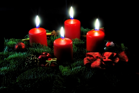 Advent wreath with candle and decorations photo