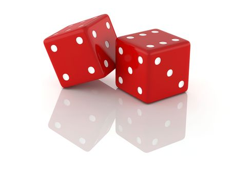 Two red dices isolated on white. 3D high resolution.
