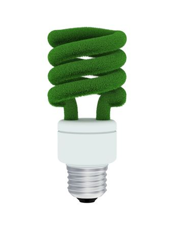 Compact fluorescent bulb made from green grass isolated on white. Banco de Imagens
