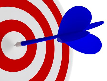 Blue dart in the center of target. High resolution 3d render.