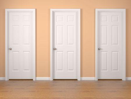 many doors: Three white doors on orange wall. High resolution 3d render.