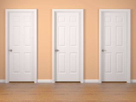 chose: Tre porte bianche sul muro arancia. Rendering 3d ad alta risoluzione.