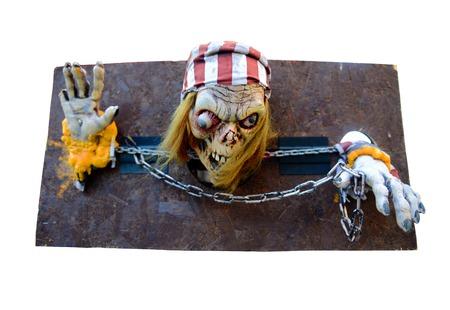 ceppi: Pirata scheletro in manette Archivio Fotografico