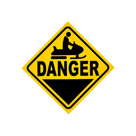 Road sign - danger snowmobiler isolated photo