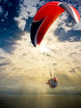 paraglider: Paraglider over Ghan Tuffieha in Malta