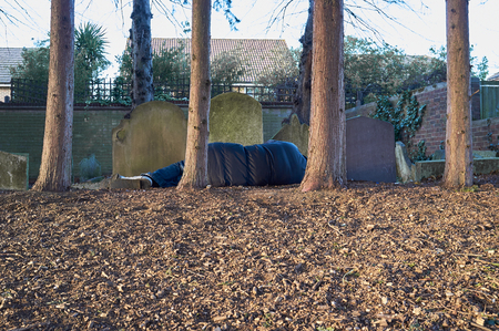 rough: Homeless migrant sleeping rough Stock Photo