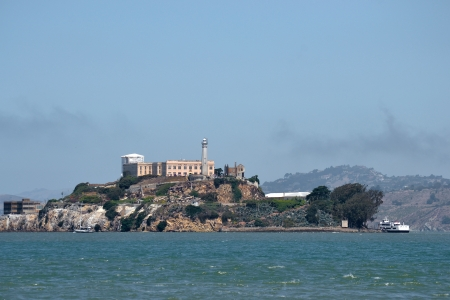 Alcatraz Prison and Island from Fisherman s Wharf photo