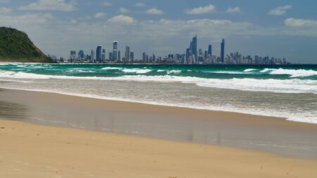 Surfers paradise. City View From A Beach. Gold Coast Queensland Australia.