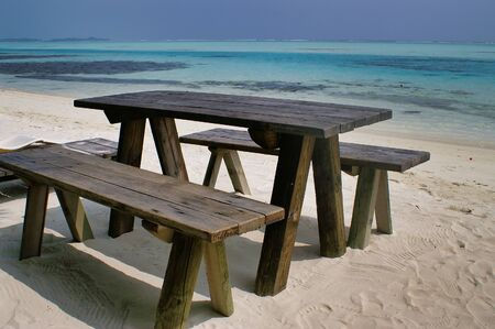 Tourist Table On Picnic Island Near Maafushi Island Maldives