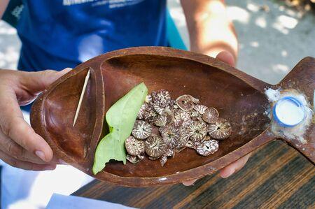 Closeup of betel nuts selling on Maafushi Island Maldives
