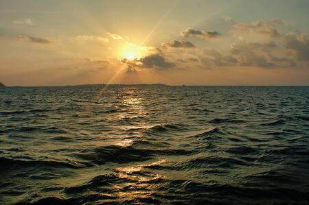 Beautiful Sunset Near Maafushi Island Maldives