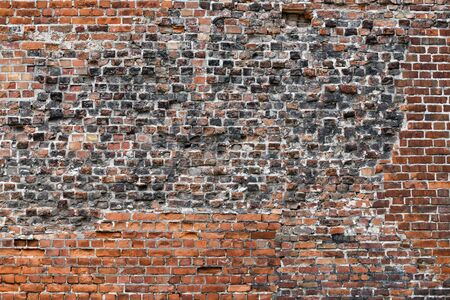 Old Red Brick Wall with Lots of Texture and Color.