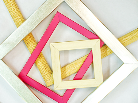 Modern wooden photo picture frames / Colorful little timber and metal photograhpy framings Banque d'images