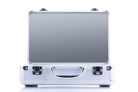 mundane: open case isolated on white background Stock Photo