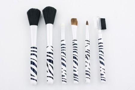 Professional make-up brushes on white background photo