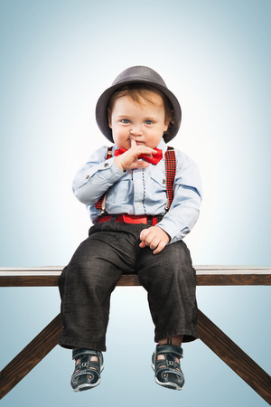 baby in suit: Baby boy well dressed in suit. Vintage children style, white background