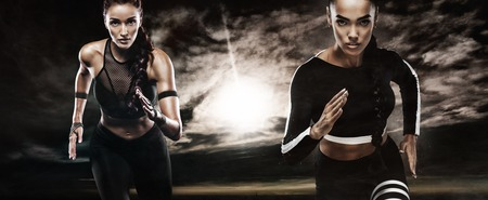A strong athletic, women sprinter, running outdoor wearing in the sportswear, fitness and sport motivation. Runner concept with copy space. Stockfoto