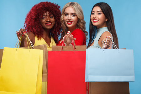 Group of women at shopping on Black Friday holiday.