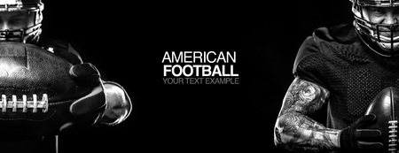 Sport concept. American football sportsman player on black background with copy space. Sport concept. Banco de Imagens