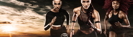 A strong athletic, women sprinter, running outdoor wearing in the sportswear, fitness and sport motivation. Runner concept with copy space. Stock Photo