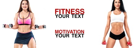 Fitness women athlete with dumbbells. Template, banner or poster for sport ads. White background.