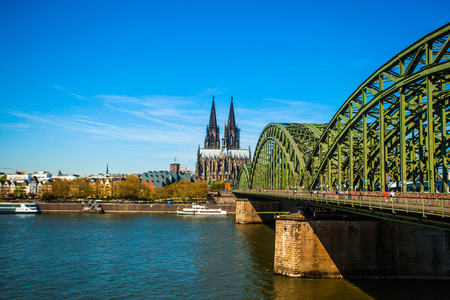 Cologne Cathedral, Catholic Church and Hohenzollern Bridge. Photo for postcard