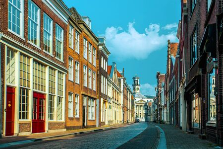 Dordrecht, Netherlands - April 22, 2018: Dordrecht street in the spring sun, Netherlands Editorial
