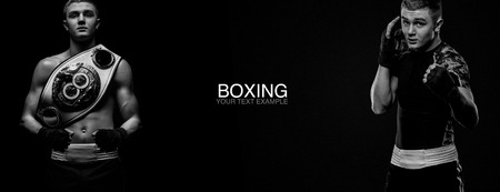 Boxer man isolated on black background with champion belt. Copy Space. Boxing, kickbox and sport concept.