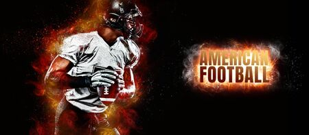 American football player in helmet, on the stadium field with ball in the hand. Fire background. Team sports. Sport wallpaper. Stock Photo