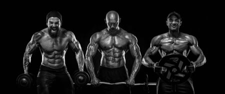 Three strong and fit men bodybuilders. Sporty muscular guys with barbell and dumbbells. Sport and fitness motivation. Individual sports recreation. Imagens - 134005512