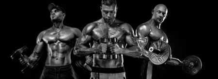 Three strong and fit men bodybuilders. Sporty muscular guys with barbell and dumbbells. Sport and fitness motivation. Individual sports recreation. Imagens - 134005511