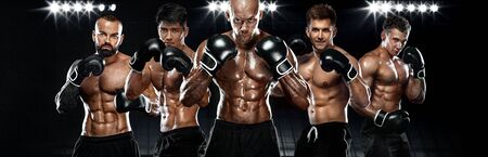 Boxing concept. Group of boxers in gloves. Sport and fitness motivation. Individual sports recreation.