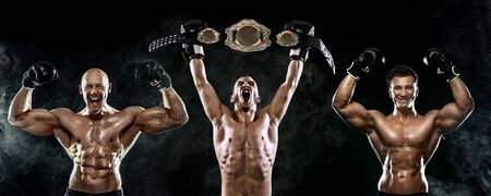 Boxing concept. Sport and fitness motivation. Individual sports recreation. Three boxer men in gloves with champion belt celebrating flawless victory isolated on black background. Imagens