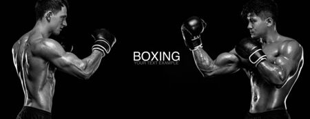 Boxers. Two male fighters in boxing gloves in combat racks on a black background. Fitness concept. Individual sports recreation.