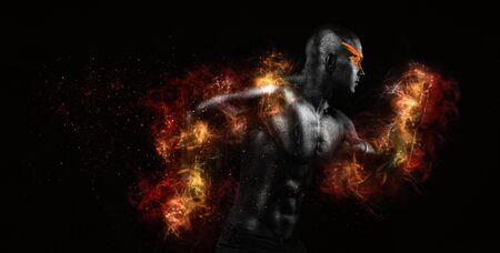 Sprinter and runner man in fire. Running concept. Fitness and sport motivation. Strong and fit athletic, guy in body paint sprinter or runner, running on black background.