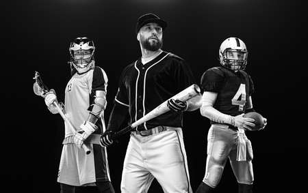 Baseball player with bat, american football player in helmet with ball, lacrosse player with stick. 版權商用圖片