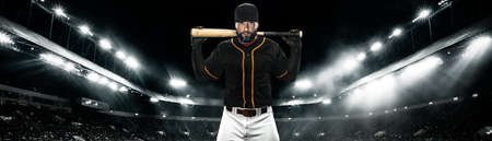 Wide photo. Porfessional baseball player with ball on grand arena. Ballplayer on stadium in action.