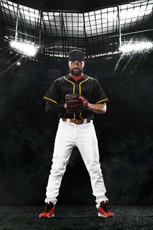 Porfessional baseball player on grand arena. Ballplayer on stadium in action.