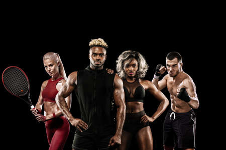 Multi sports athletes and players in one collage isolated on black background. Sport concept.