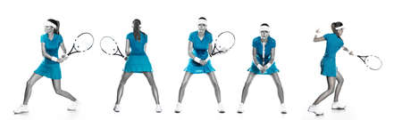 Tennis player with racket. Woman athlete isolated on white background. Tennis set with five players.