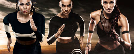Runners run. A three athlete women sprinter, running outdoor wearing in the sportswear, fitness and sport motivation.