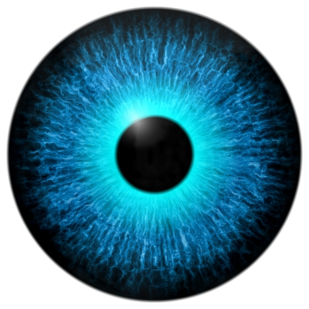 Blue eye 3d, texture with black fringe and white background Stock Photo